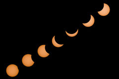 Path of a partial solar eclipse Stock Images