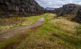 A path in Pingvellir national park, Iceland. A path in Thingvellir National park in Iceland. This is one of the attractions of the Golden Circle tour near Stock Photo
