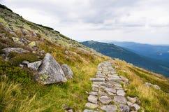 Path in Polish Karkonosze mountains, Poland Royalty Free Stock Images