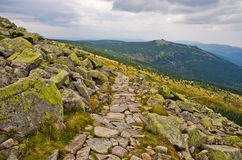 Path in Polish Karkonosze mountains, Poland Royalty Free Stock Photos