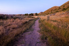 Path in Prairie Landscape. Prairie Landscape, Pavan Park, Lethbridge, Alberta Stock Image