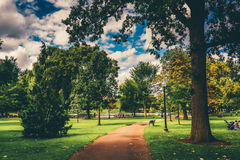 Path through the Public Garden in Boston, Massachusetts. Stock Photography