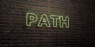 PATH -Realistic Neon Sign on Brick Wall background - 3D rendered royalty free stock image. Can be used for online banner ads and direct mailers Royalty Free Stock Photography