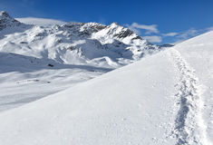 Path of the Rhaetian Alps, the Piz Bernina, Switzerland. Stock Photo
