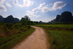 Path through the rice fields. In Yangshuo, China Royalty Free Stock Photos