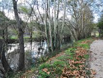 Path by the river Krka. Path and the river Krka in November stock image
