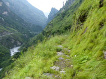 Path through river Marsyangdi valley stock photo