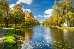 Path by the river in the park autumn Royalty Free Stock Photos