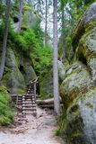 Path into rocks. Touristic path into the rock town - Adrspach, Czech Royalty Free Stock Photo