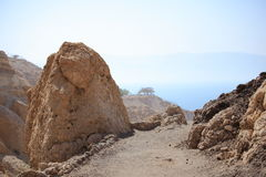 Path with Rocks & the Dead Sea, Ein Gedi Stock Photo