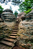 Path in rocks, Garden of the Gods Wilderness, Illinois, USA. Stone steps in rocks of Garden of the Gods Wilderness in Shawnee National Forest, Illinois, USA stock images