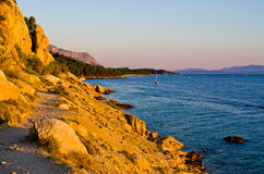 Path on rocky Croatian seashore Royalty Free Stock Image