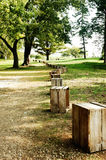 Path Row of Wooden Crates stock image
