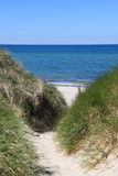 Path through sand dunes to the beach Royalty Free Stock Images