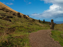 Path Through Scattered Moai Royalty Free Stock Photo