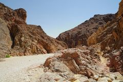 Path in scenic desert canyon, Israel. Path in scenic desert canyon, Negev desert, Israel Stock Photos
