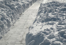 Path shoveled in snow Royalty Free Stock Photos