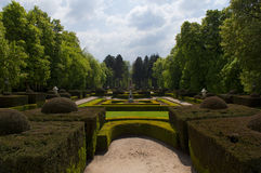 Path, shrubs and trees, palace of San Ildefonso Royalty Free Stock Image