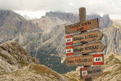 Path sign. Wood path sign at Dolomites Alps (Italy Stock Images