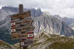 Path sign. Wood path sign at Dolomites Alps (Italy Stock Photo