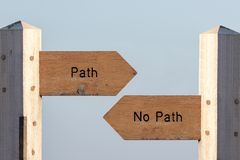 Path sign choice. Follow destiny or make your own way. Through life. Debating spirituality, determinism and expectations. Choose an easy planned life or simply stock image