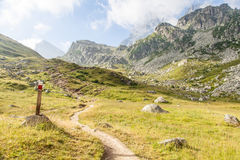 Path sign on Italian Alps Royalty Free Stock Photos
