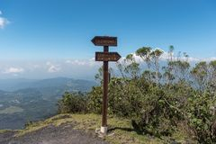 Path Sign on the Pacaya Vocano View Point. Stock Photos