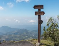 Path Sign on the Pacaya Vocano View Point. Mountains in Background Royalty Free Stock Photos