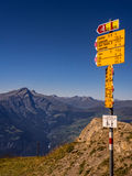 Path signal for hiking. On the Swiss Alps Stock Image