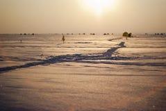 Path on snow Stock Photos