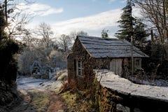 Path through snow scene. Path through snowy winter landscape stock photos