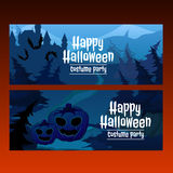 Path through spooky forest. Two horizontal card path through the spooky forest, sample_text Royalty Free Stock Photography