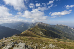 Path on the steep side of Kasprowy Wierch in Tatra mountains and Stock Photo