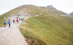 Path on the steep side of Kasprowy Wierch in Tatra mountains Stock Photo