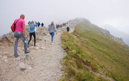 Path on the steep side of Kasprowy Wierch in Tatra mountains Stock Images