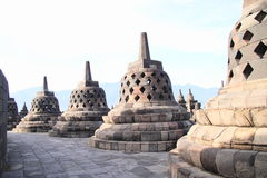 Path with stone bells on Borobudur Royalty Free Stock Images