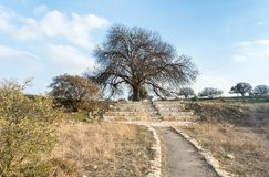 The path and stone stairs leading to the ruins of the destroyed Roman temple, located in the fortified city in the territory of th stock photography