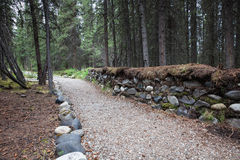 Path with a stone wall Royalty Free Stock Photos