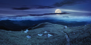 Path among stones on mountain top at night Royalty Free Stock Image