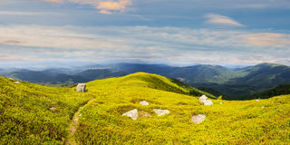 Path among stones on mountain top at sunrise Royalty Free Stock Photography