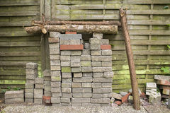 Path stones. Stacked front of a wooden fence Stock Images