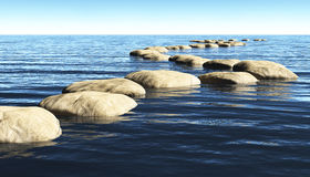 Path of stones on the water. A path made of stones that stay above the surface of deep water, winds toward a unknown destination in a sunny day Royalty Free Stock Photos