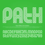 Path. Stylish circuit alphabet letters and numbers. vector, linear font type. regular typeface design. contemporary, thin line typesetting stock illustration