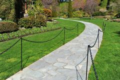Path in sunken garden Royalty Free Stock Photo