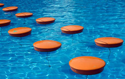 Path  in swimming pool. Path made of round object in a swimming pool Royalty Free Stock Images