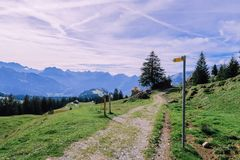 Hiking trail in Switzerland mountains royalty free stock image