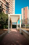 Road with buildings behind in barranquilla stock photo
