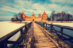 Path to ancient Trakai castle Stock Photos