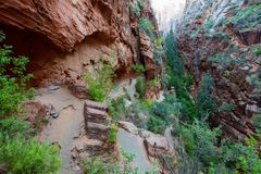 Path to Angels Landing in Zion National park, Utah, USA.  Royalty Free Stock Images