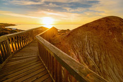 Path to the beach. In the Hallett Cove conservation park at sunset. South Australia Royalty Free Stock Photos